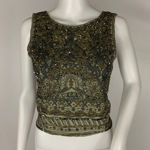 Zara Beaded Embellished Crop Sleeveless Tank Top M